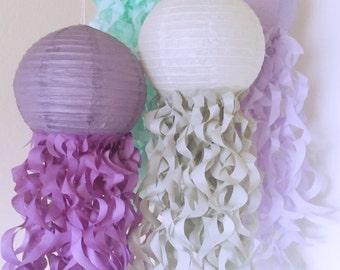 Jellyfish Paper Lanterns-Mermaid party decorations-Nursery Decor-Birthday Decor-Unicorn Party, Plum, Soft lavender, Gray & Aqua-Set of 4
