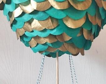 Hot Air Balloon Centerpiece-Stand alone hot air balloon-Teal and Gold hot  air balloon-Photography Props-Nursery decor-Wedding Centerpiece