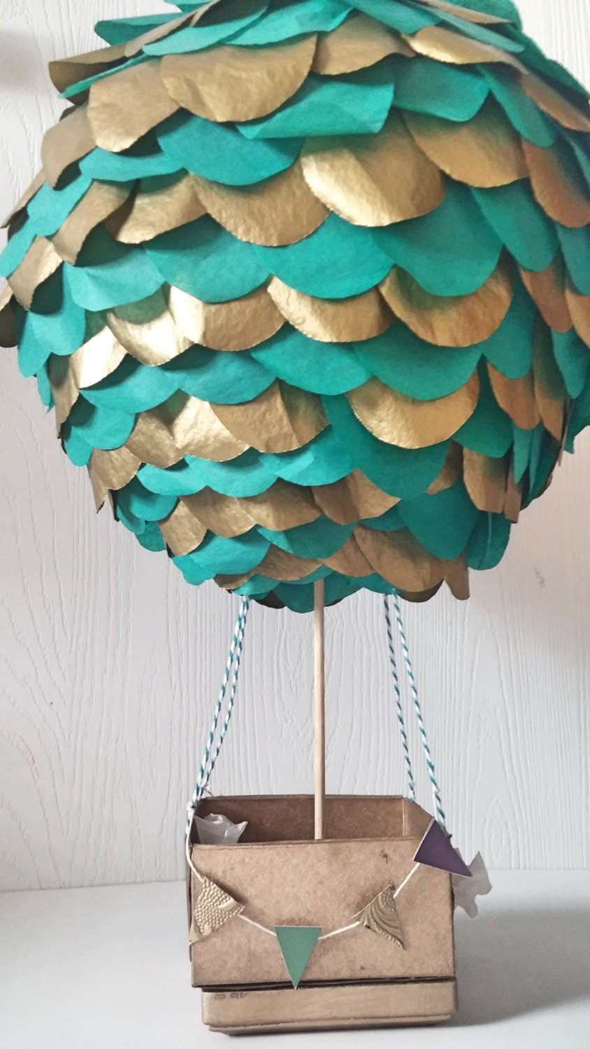 Hot air balloon centerpiece stand alone teal