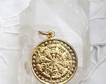 Gold Plated Dharma Wheel Pendant from Thailand - 1 Inch