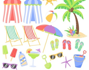 80% OFF SALE Beach Clipart, Tropical Clipart, Summer Clipart, Beach Graphics, Printable, Commercial Use
