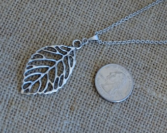 Silver leaf, leaf necklace, silver necklace, silver leaf necklace