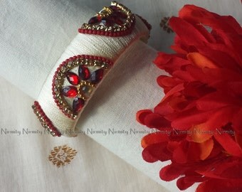 Cream Red Handcrafted Silk Thread bangles -Rhinestone Studded Bangles - silk thread bangles-Size 2.4-Bangle Bracelets-Bridesmaid gift