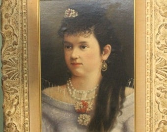 Framed 19th Century Oil Portrait/Victorian Girl/Beautiful