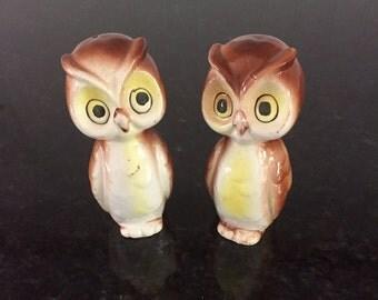 Pair of Vintage Owl Salt & Pepper Shakers, Japan