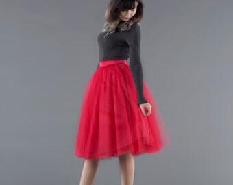 Red swan - ladies tulle skirt / adult tutu skirt / red tulle skirt / midi tulle skirt