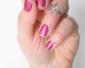 Petal Pink Diamond Glitter Vinyl Nail Wrap CLEARENCE SALE