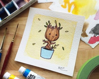 Baby Groot Guardians of the Galaxy Watercolor Mini Print by Michelle Coffee
