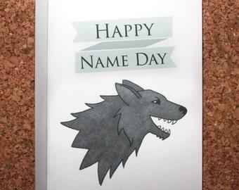 Game of Thrones Birthday Card / Name Day Card / Stark birthday card, Wolf, Jon Snow