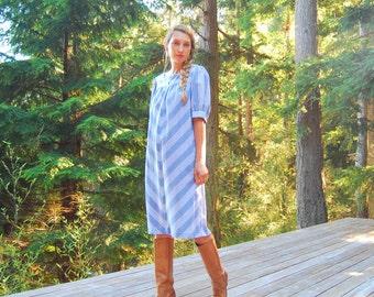 Vintage 70s Chambray Dress, White + Blue Chevron Dress, Puff Sleeve Boho Prairie Dress, Striped Cotton Nightgown, Summer Midi Day Dress