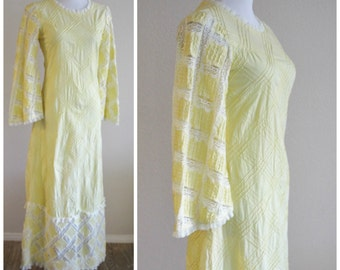 Vintage 60's 70's  Festival Hippie Mexican Wedding Embroidery Lace Bell Sleeve Caftan Maxi Dress TOMACELLI