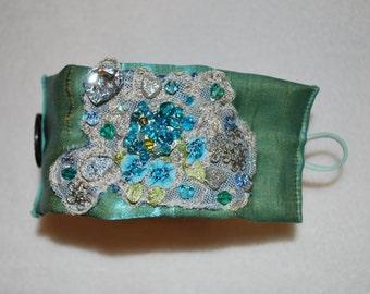 Fabric cuff bracelet, gem cuff bracelet, bohemian jewelery ,textile bracelet