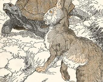 Vintage children's storybook art illustration tortoise and hare digital download printable instant image