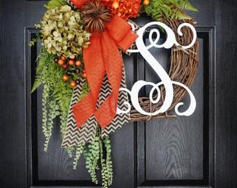Fall Grapevine Wreath with Burlap. Fall  Wreath. Autumn Wreath. Winter Wreath. Door Wreath. Monogram Wreath. Grapevine Wreath.