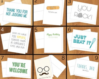 INVENTORY SALE!! 5 greeting cards for discounted price! - Funny Cards