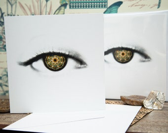 3 / 6 Mandala Soul Eye Square Blank Greeting Card. Fantasy Art. Pupil, eyes, vision, Iris. Spiritual Artwork. Metaphysical Art Cards