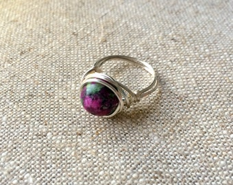 Pink and green Zoisite Silver Wire Wrapped Ring - sized to order