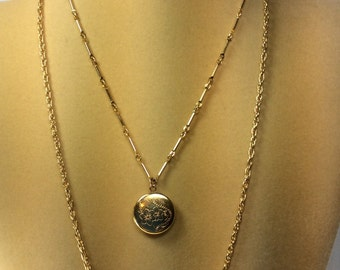 Locket,  Necklace, Vintage, Gold-tone