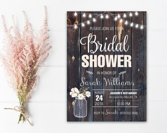 Rustic Bridal Shower Invitation Printable, Country Bridal Shower Invitation, rustic wedding shower invite, Mason Jar Bridal Shower Invite