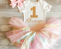 Floral Monogramed Two Tone Pink Baby Blue Gold Baby Girl 1st Birthday Outfit Pink and Gold Baby Girl 1st Birthday Tutu Set Smash Cake