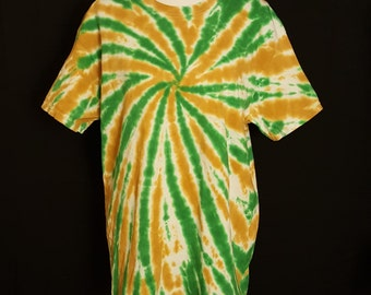 """Tie Dye Shirt """"Old Gold & Green"""" (Hand Dyed) 