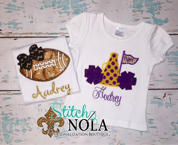 2 Shirt Set SAVE PUFF Sleeves- - - Black and Gold Glitter Football & Purple and Gold Megaphone