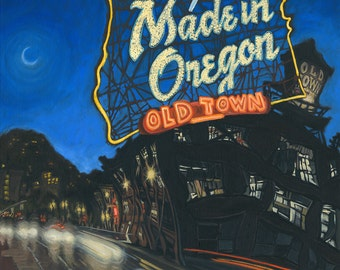 Made in Oregon sign painting, prints, Portland Oregon, cityscape
