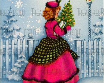 Retro Victorian Girl Carrying A Christmas Tree Presents Christmas Card #493 Digital Download