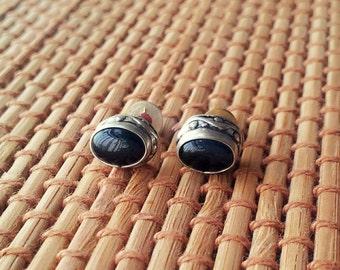 Black Onyx Stud Earring Silver Stud Earring Stone Stud Gemstone Stud 8 mm Minimal Stud Earring Gift
