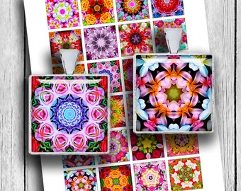 "Flower Mandala Printable Digital Collage Sheet 1x1"" 0.75x0.83"" 1.5x1.5"" - Instant Download"