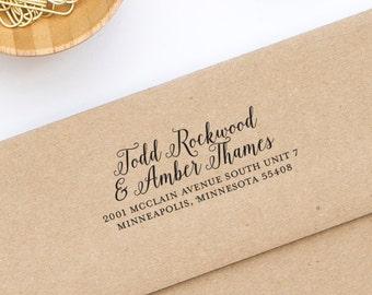 Return Address Stamp, Self-Inking Address Stamp, Personalized Address Stamp, Two Full Names, Long Address - Address Stamp Style No. 138