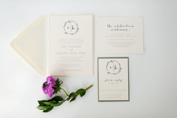ruby wedding invitation sample set -  monogram laurel  // lola louie paperie
