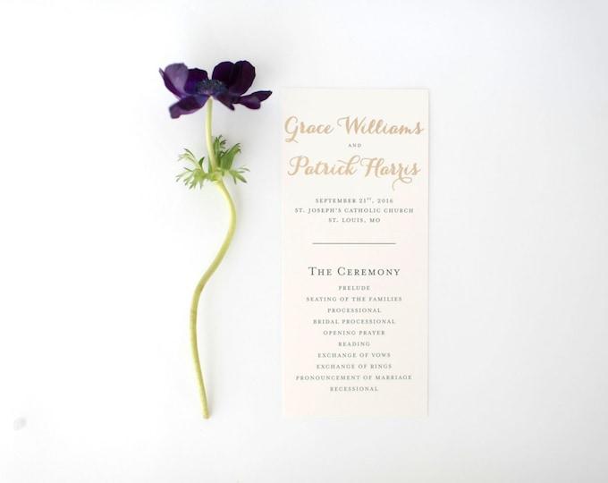 grace gold foil wedding programs (sets of 10)  // lola louie paperie