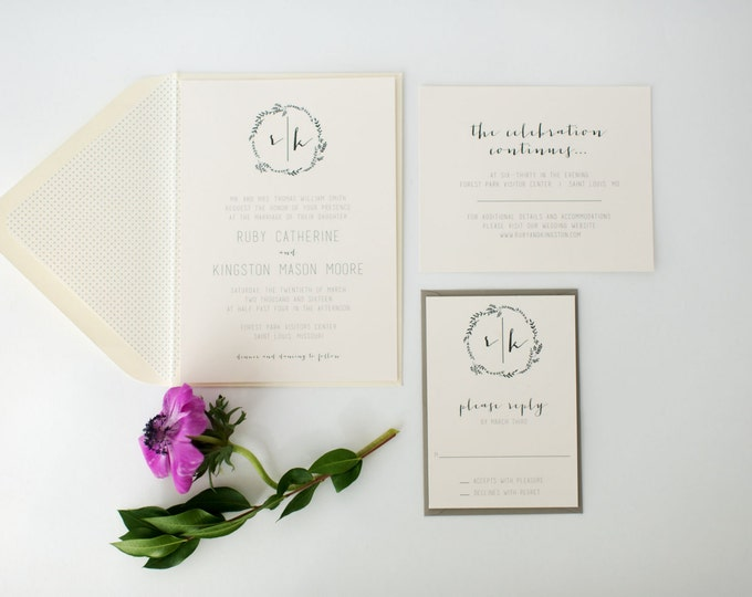ruby wedding invitation sample set // monogram laurel wreath calligraphy neutral gray custom romantic invite