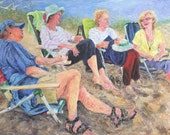 Rehoboth Beach, Delaware, Sisters at the Beach print by Ray Sokolowski