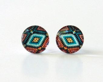colorful aztec stud earrings - geometrical jewelry - modern tribal post earring - boho - native inspired earring