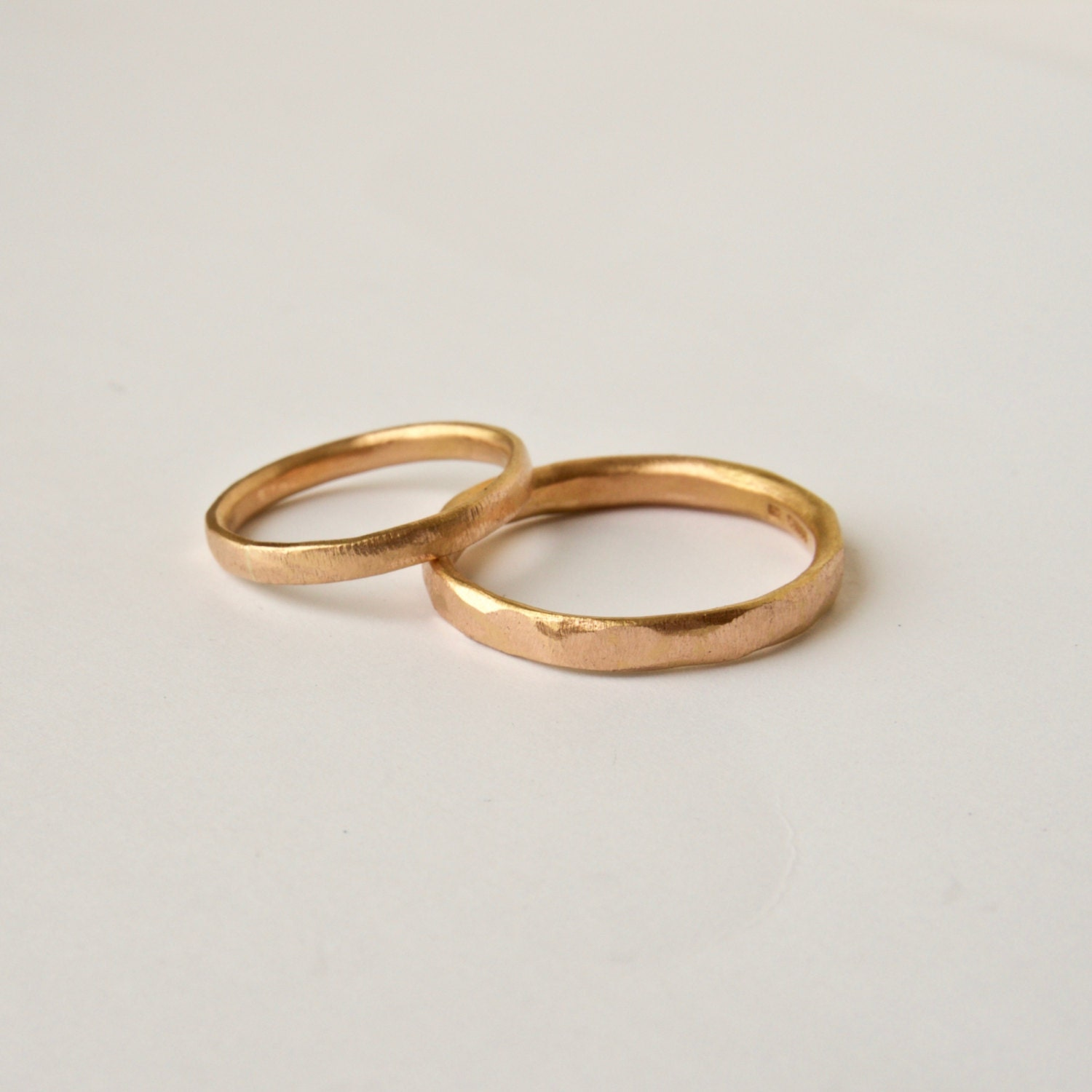 Rose Gold Wedding Ring Set Gold Organic Texture Wedding Rings