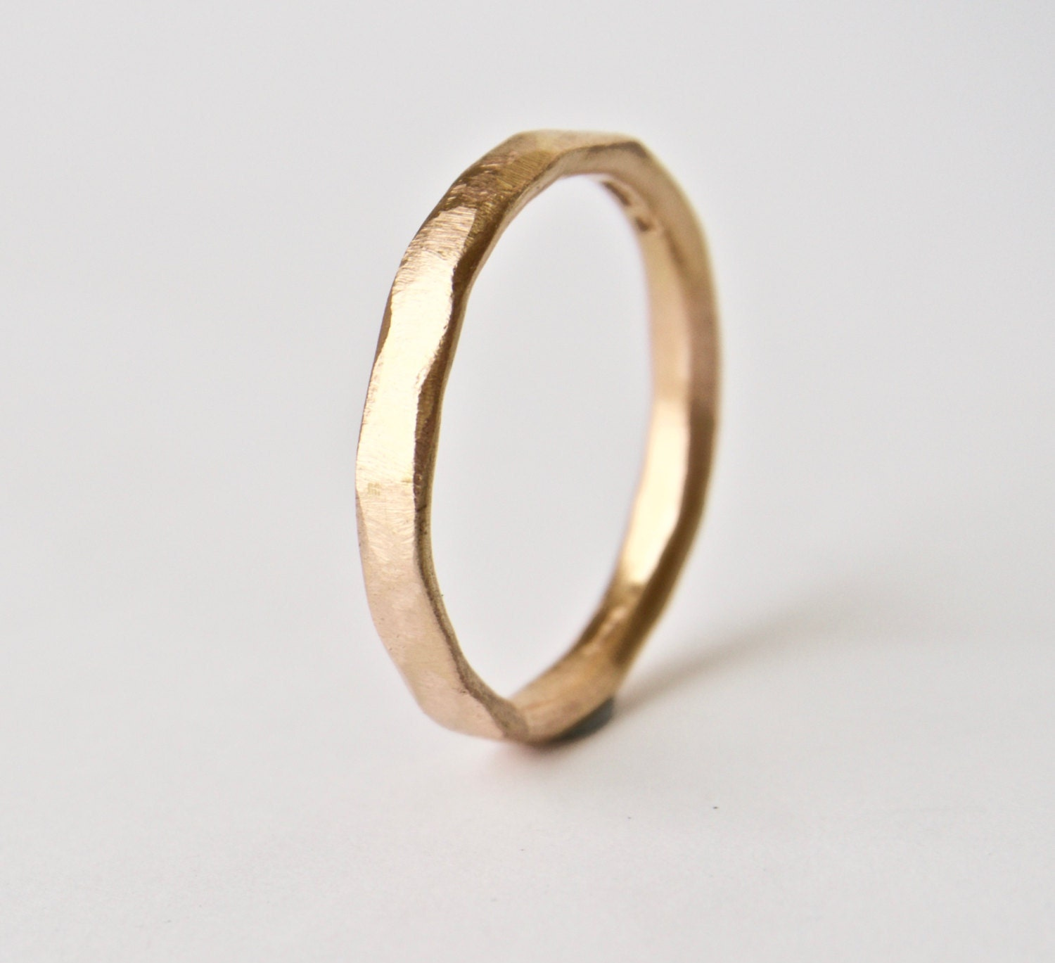 Rose Gold Ring Organic Grain Texture 18 Carat Thin Wedding