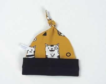 Mustard yellow organic baby knot hat, baby beanie with cool cats Baby Gift Boy or Girl knotted hat Black fold over band Gender neutral