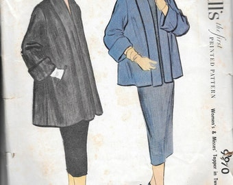 Vintage 1950s McCall's Sewing Pattern 9970 - Misses' Topper Coat in Two Lengths size 14 bust 32