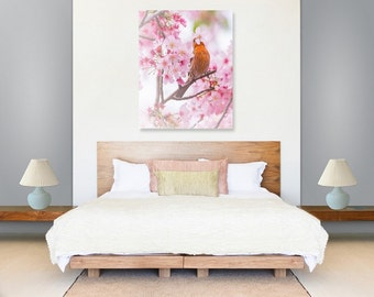 Orange Finch Pink Sakura Cherry Blossom, Pink Spring Flowers, Bird Art Print, Nature Wildlife Photography, Wall Photo Printable, Home Decor