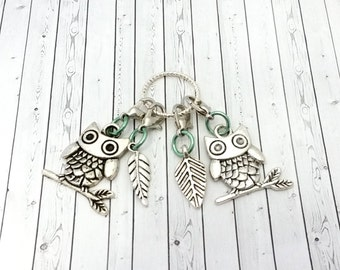 Owl Progress Keepers - Removable Stitch Markers - Lobster Clasp Stitch Minders - Knitting & Crochet Tools - Clip on Stitchmarkers - Snagless