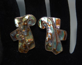 Vintage Silver Abalone Earrings Silver Tone Abalone Screw Back Earrings