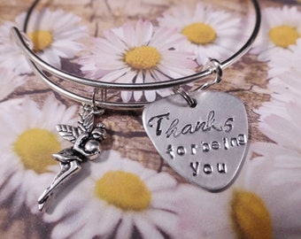 You are Precious - Thanks for being you - Inspirational Quote Bangle Bracelet - Appreciation - Gratitud - Gift for her