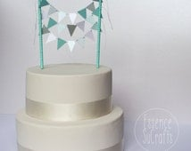 Banner Cake Topper, cake banner, Cake Topper. mint, silver and white, mint chevron straw, mint, silver and white cake banner
