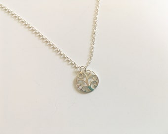 Sterling silver seedling charm necklace