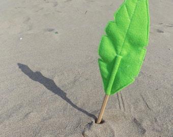 Green Felt Quill FLORA Pencil Topper, Green Feather, Vegan