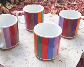 Vintage 1970s San Remo by Imperial Multi-Colored Retro Striped Mugs / Color Bars (Set of 4)