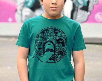 T-shirt Kid MIGMOIID - Boy - Linocut on organic cotton - limited and numbered series