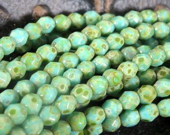 SALE 30% OFF - 4mm 50 pcs Opaque Turquoise Picasso Czech Glass Beads, Faceted Fire Polish 4mm